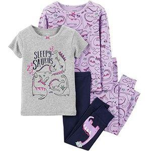 Carter's 4-Piece Dino-Print Cotton Pajamas Set, 4T